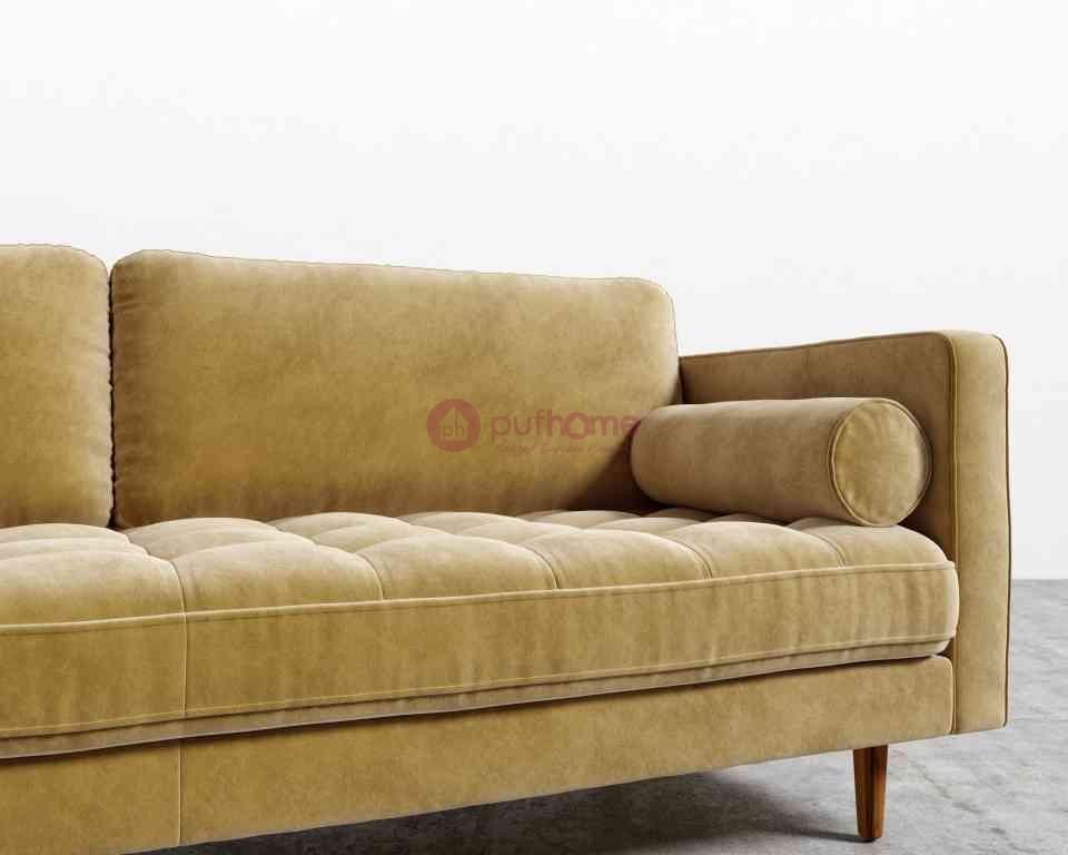 Retro 3'lü Kanepe - Sarı Kadife